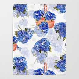 Cape Cod Hydrangeas and Baskets Poster