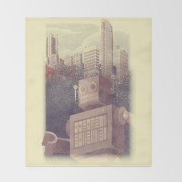 A City Snow-Bot Throw Blanket