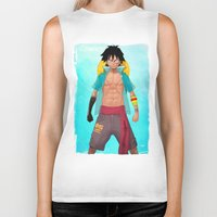 luffy Biker Tanks featuring Luffy by Yvan Quinet