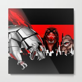 the mecha, the lizard and the ape in kaiju madness ecopop Metal Print