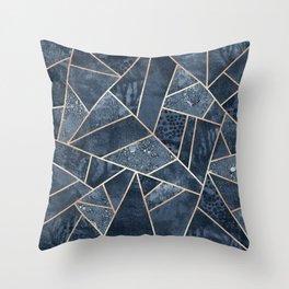 Soft Dark Blue Stone Throw Pillow