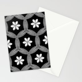 black and white hippie flower pattern Stationery Cards