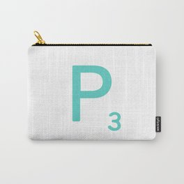 Aqua Scrabble Initial Letter P Carry-All Pouch