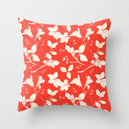 Drawings from Stonecrop Garden, Pattern in Red Throw Pillow