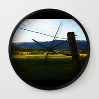 rustic Wall Clocks featuring Rustic by Blue Lightning Creative
