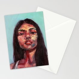 Oil painting - Girl Portrait #8 Stationery Cards