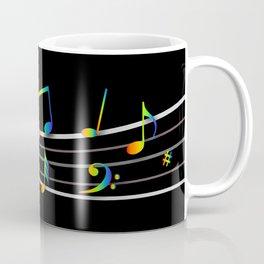 Rainbow Music Notes on Black Coffee Mug