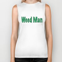 weed Biker Tanks featuring Weed Man by BudProducts.us