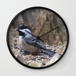 Chickadee in a Stump Bird Feeder Wall Clock