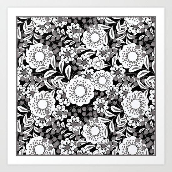 White flowers on a black background. Art Print