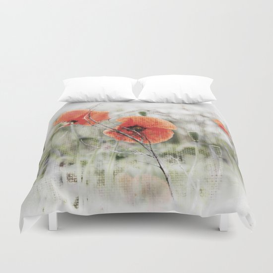 Poppies(mist). Duvet Cover
