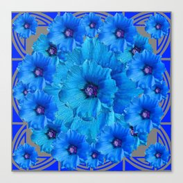 CERALIAN BLUE HOLLYHOCKS ART DECO ABSTRACT Canvas Print