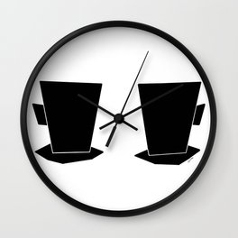 Coffee Illustration Kitchen Tea Cups Mugs Minimal Scandinavian Simple Modern Design Wall Clock