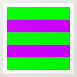 Neon Green & Purple Wide Horizontal Stripes #1 Art Print