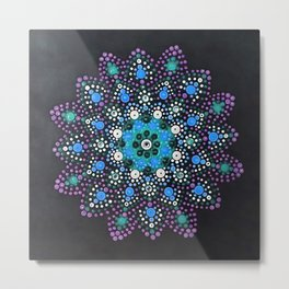 Icy Dot Mandala Snowflake Painting In Lilac Teal and Blue Metal Print