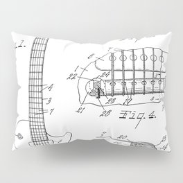 Gibson Guitar Patent - Les Paul Guitar Art - Black And White Pillow Sham
