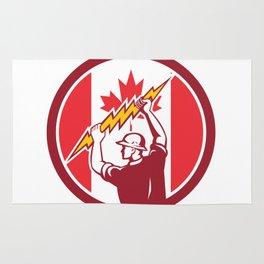 Canadian Electrician Lighting Bolt Canada Flag Icon Rug
