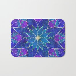 Lotus 2 - blue and purple Bath Mat