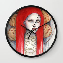 """Kaos"" Mixed Media Portrait painting Wall Clock"