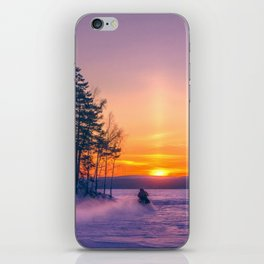 The snow mobile race toward the Sun pillar iPhone Skin