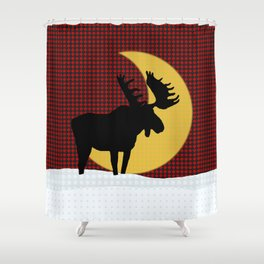 Moose Moon on Black and Red Check Shower Curtain
