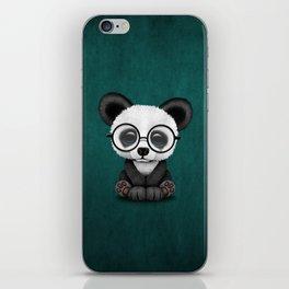 Cute Panda Bear Cub with Eye Glasses on Teal Blue iPhone Skin