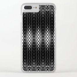 Geometric Black and White Diamond Scales Pattern Clear iPhone Case