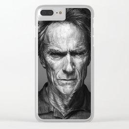 Clint Eastwood Celebrity Portrait Clear iPhone Case