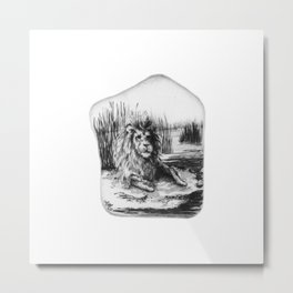 Barbary Lion on a rock by annmariescreations Metal Print