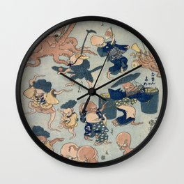 Utagowa Kuniyoshi Octopus Games Wall Clock