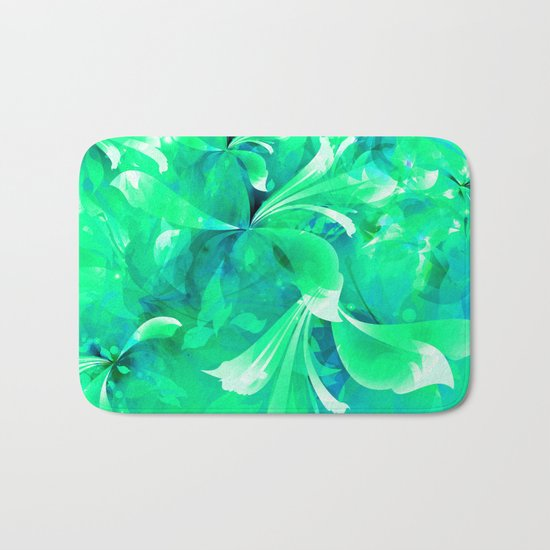 Stylized flowers in green Bath Mat