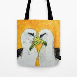 Orange Albatross Pair in Love Tote Bag