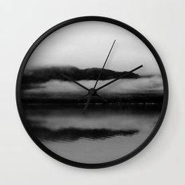 Black and White Alaska Photography, Enchanted Isle Wall Clock