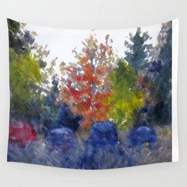 Rainy Autumn Mono-print Wall Tapestry