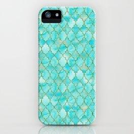 Luxury Aqua Teal and Gold oriental quatrefoil pattern iPhone Case