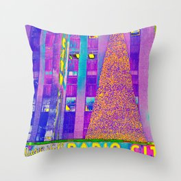 Radio City Music Hall with Holiday Tree, New York City, New York Throw Pillow
