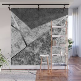 Combined abstract pattern in black and white . Wall Mural