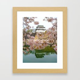 Tokyo Imperial Palace + Cherry Blossoms Framed Art Print