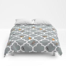 Cats on a Lattice - Grey Comforters