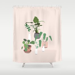 plant party in pink Shower Curtain