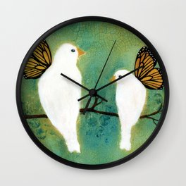 Butterfly Doves Wall Clock