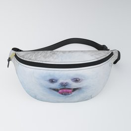 Puffy Running Home - Pomeranian Puppy Art Fanny Pack