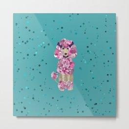 Fun Paint Splatter Poodle on Teal Metal Print