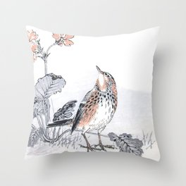 Little Skylark Bird and Flowers - Vintage Japanese Woodblock Print Art By Kono Bairei, 1883 Throw Pillow