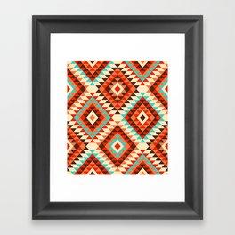Kilim diamonds traditional Southwest Aztec orange teal cream Framed Art Print