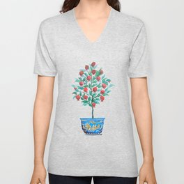 Persephone- Pomegranate Tree on White Unisex V-Neck