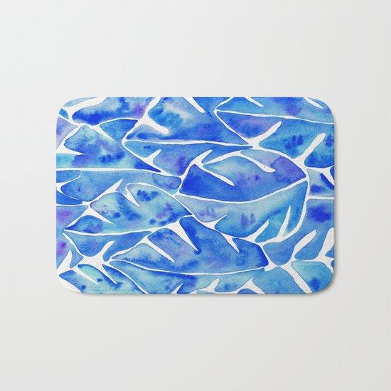 Split Leaf Philodendron – Blue Bath Mat