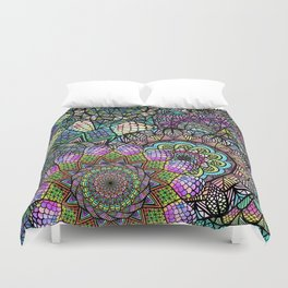 Colorful Floral Mandala Pattern with Geometric Drawings Duvet Cover