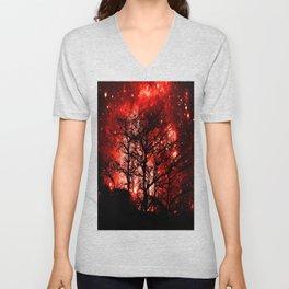 black trees red space Unisex V-Neck