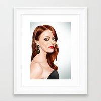 emma stone Framed Art Prints featuring Emma Stone by RachelHam